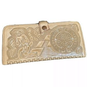 Vintage New Tooled Leather Wallet Aztec Calendar
